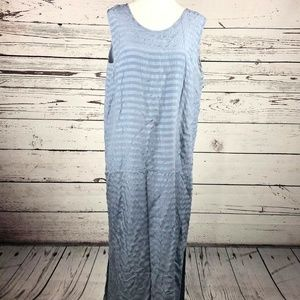 Coldwater Creek Cornflower Blue Silk Striped Dress